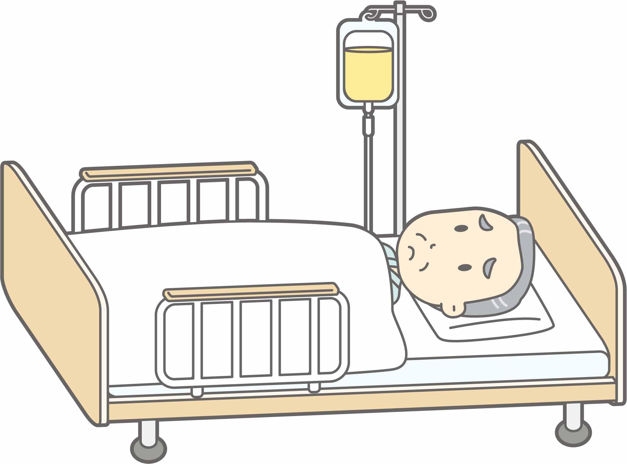 病院の中での認知症患者の看護。点滴を抜いてしまう患者